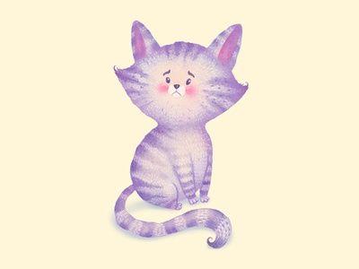 Sad kitty kitty goodbye watercolor colored pencils cards greeting cards cat