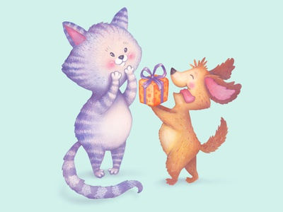 To a special Friend! cat kitty puppy dog christmas watercolor colored pencils birthday cards greeting cards merry christmas