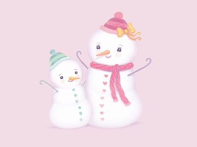 Snowmom and child merry christmas christmas winter snow watercolor colored pencils birthday cards greeting cards