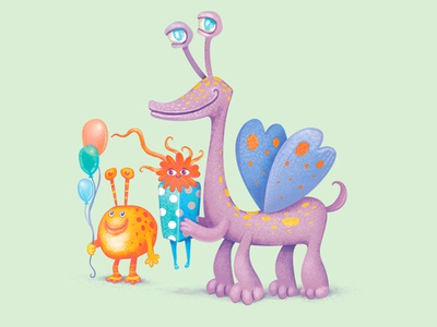 Monster Fun happy birthday watercolor colored pencils birthday cards greeting cards