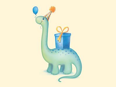 Bronto dino happy birthday watercolor colored pencils birthday cards greeting cards dinosaur
