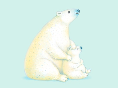 Polar bears cute bear polar bear happy birthday watercolor colored pencils birthday cards greeting cards fathers day