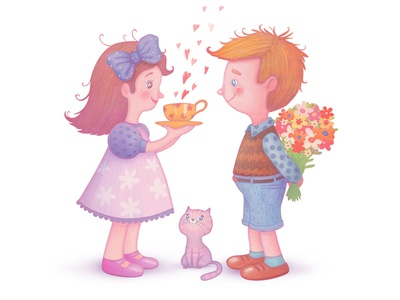 Love illustration greeting cards cute girl birthday little darlings cards spring sweet