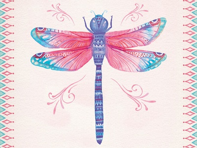 Dragonfly rhapsody bohemain boho watercolors design birthday cards watercolor animals illustration greeting cards dragonfly