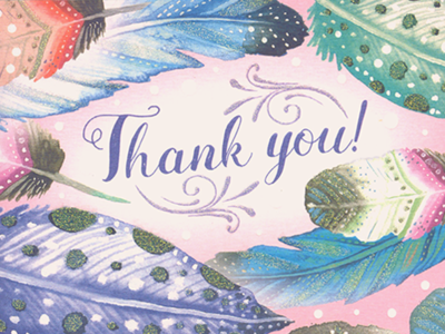 Thank you! thank you dream big feather rhapsody dream feathers colored pencils fairytale watercolor watercolors greeting cards illustration