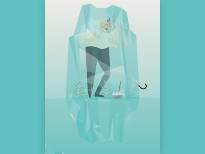 "Illustration ""Altersvorsorge"" - retirement arrangement happy frozen ice blue insurance retirement old ai illustrator vector illustration"