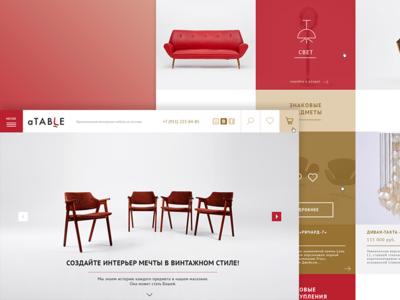 E-commerce thing) commerce ui ux blocks red interior furniture site web