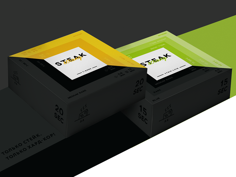 concept of steak package) flat black green yellow meat steak package