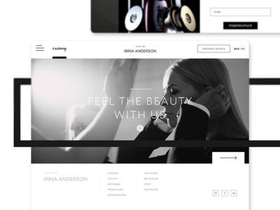 Web design for Beauty Salon e-commerce interface white and black minimalism minimalistic design web