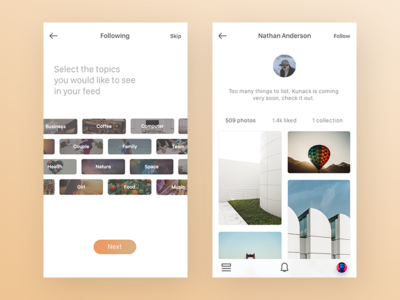 Tags & Profile unsplash photography photos clean ux ui ios mobile iphone app