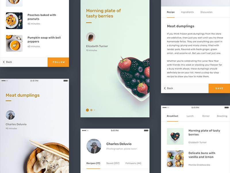 Recipes App Concept flat minimal social food recipe ios mobile iphone app