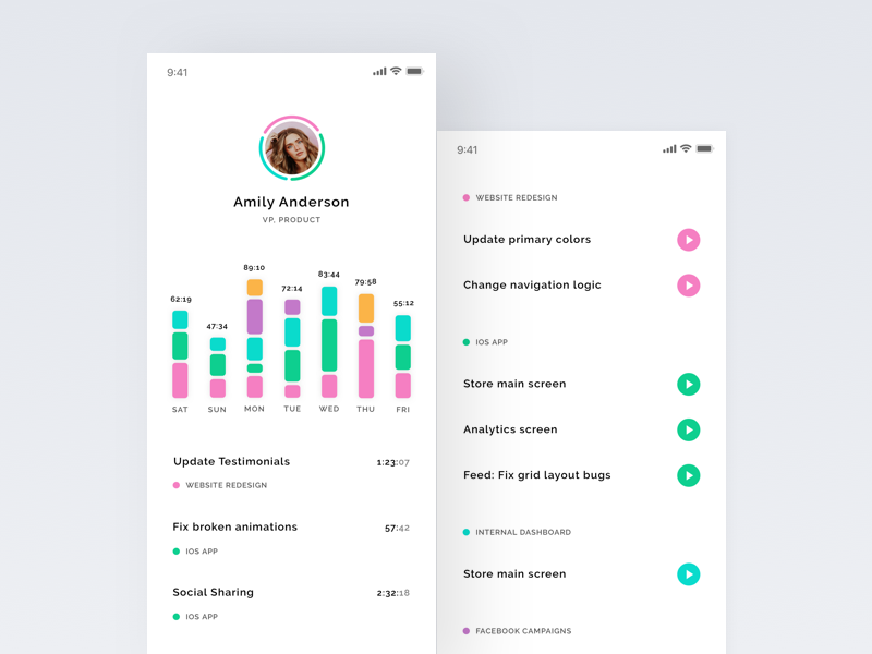 Team time tracking app – user stats & tasks profile tasks graph flow chart analytics time stats flat clean ui mobile ios iphone app