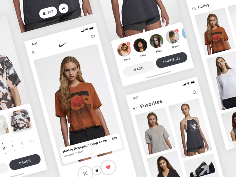 Nike + Tinder App Concept minimal online store e-commerce shop clothes store nike photography iphone x flat clean ui mobile ios iphone app