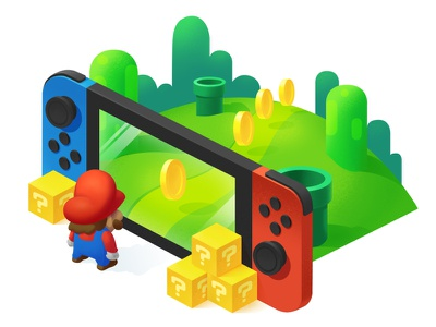 Mario Nintendo Switch Game supermario switch nintendo mario isometric illustration gaming game console coins