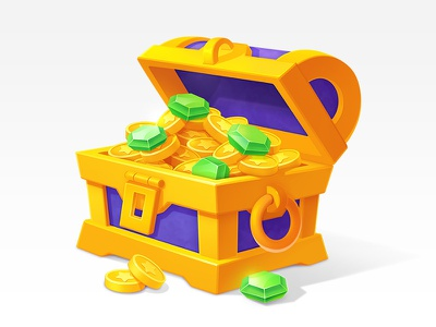 Icons Set art game winner prize suitcase safe illustration design treasures chest emeralds gems bag cup sketches process trophy coins asset icons