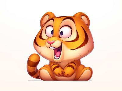 Tiger animation digital illustration digital art children artwork slots wild coin illustration colorful cute design character animal gamble art game symbol slot tiger