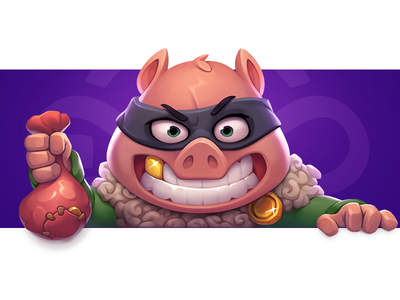 Pig Thief cute children artwork wild colorful gambling game symbol slot illustration mask tooth coins gold thief design character art animal