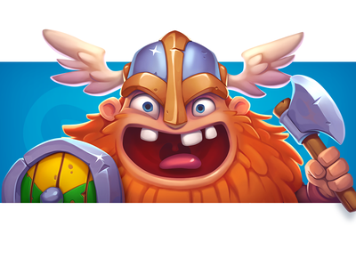 Viking tor ragnarok valhalla cute children artwork gambling sword coin shield game illustration design art character human smile power fearless viking