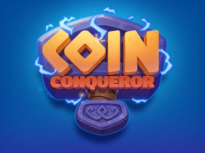 Coin Conqueror Game Logo game game logo illustration aesir scandinavia viking valhalla ragnarok tor gambling slots slot hammer lightning coin art