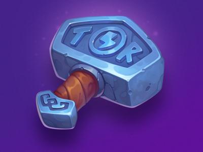 Magic hammer odin valhalla ragnarok tor weapon illustration lightning design art game element icon asset hammer symbol slot
