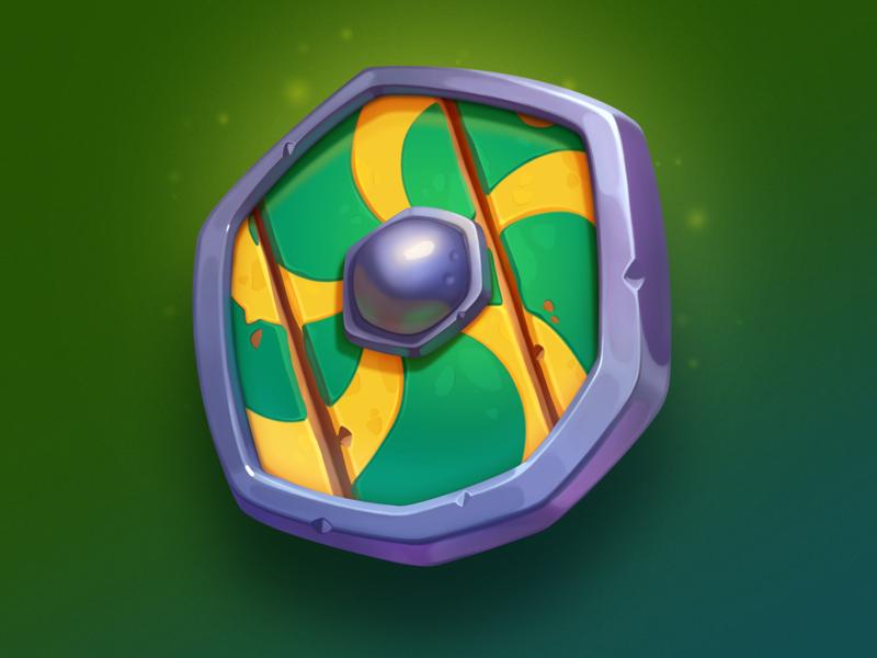 Shield valhalla odin tor wood colorful illustration gambling weapon design slots symbol element icon art game asset shield