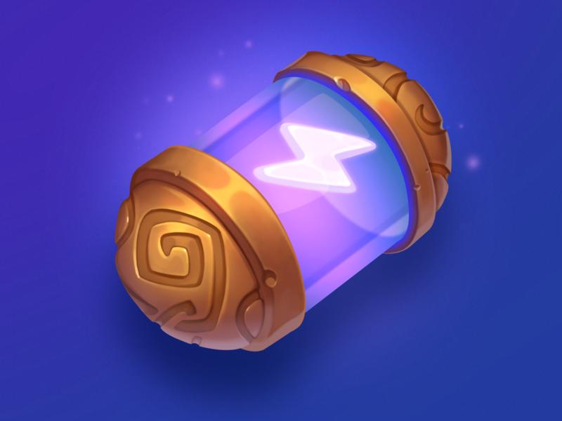 Energy Booster design element asset gambling art game slot purple capsule lightning symbol icon energy booster