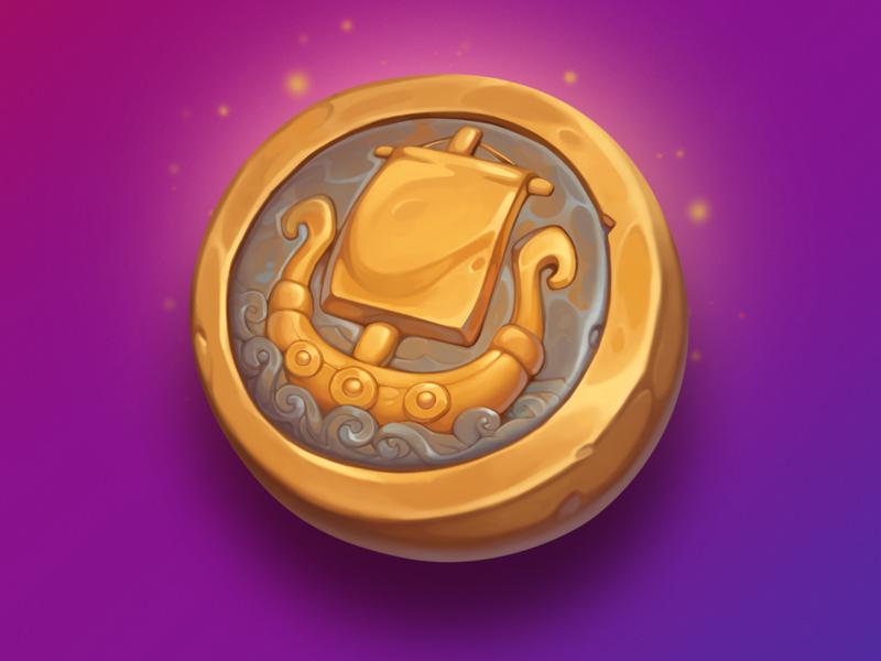 Viking Coin valhalla norway viking design element asset gambling art game slot boat capsule ship symbol icon gold coin