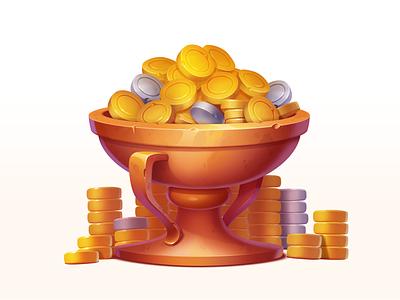 Golden Cup illustration trophy treasure golden silver design element asset gambling art game slot prize cup symbol icon gold coin