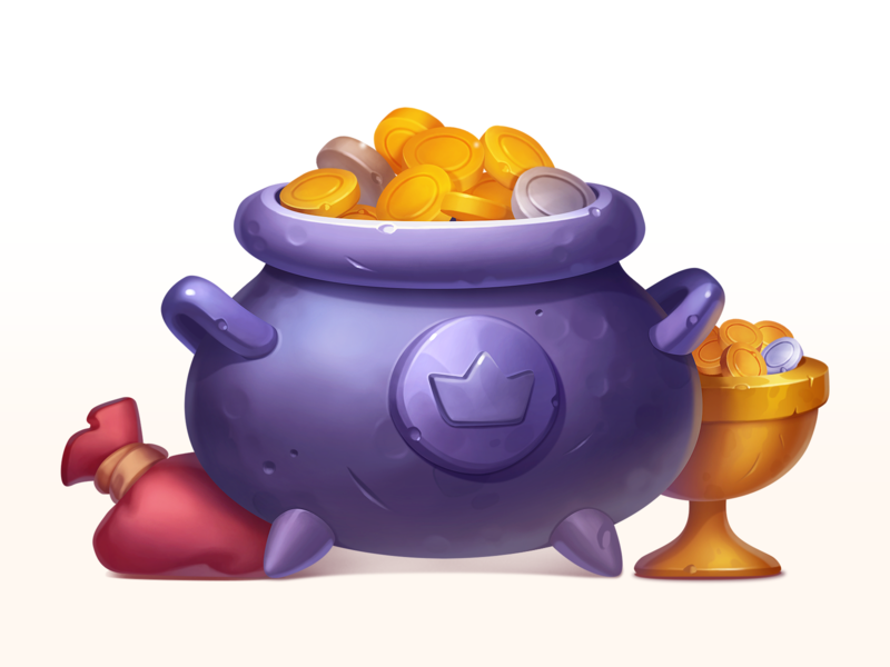 Cauldron with gold art illustration cup trophy treasure golden silver element asset gambling game slot prize symbol icon gold metal coins caldron