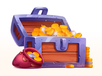 Silver Treasure Chest illustration wood bag treasure golden silver design element asset gambling art game slot prize symbol icon gold metal coins chest