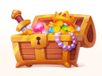 Gold Treasure Chest gem diamond sword crown treasure golden element asset gambling art game slot prize symbol icon gold metal coins chest