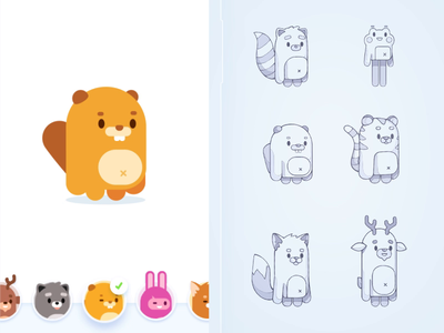 Forest Characters animation frog deer fox beaver studying language character design app education cute animals forest