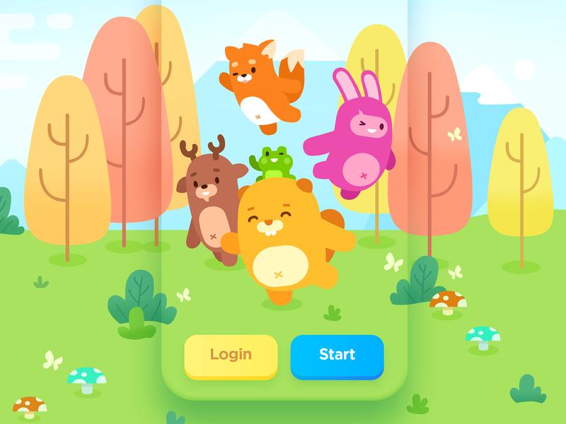 Login Screen ui game art beaver illustration logo rabbit fox deer color bright forest cute animals design teach study education language app