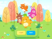 Login Screen art beaver illustration logo rabbit fox deer color bright forest cute animals design teach study education language app screen
