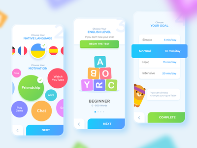 NestStrix Toki Profile languages english ui game ux test goal beaver profile setting color theme level cute design teach study education language app