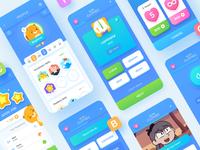 Toki Educational App ux exercises stars button character illustration beaver badges icon animal theme shop design teach study education language app screen