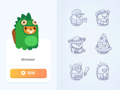 Shop Screen bear character dinosaur flash wizard illustration sketch prize color animal costume shop design teach study education language app screen