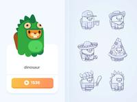 Shop Screen bear character dinosaur flash wizard illustration sketch prize color animal costume shop design teach study education language app screen
