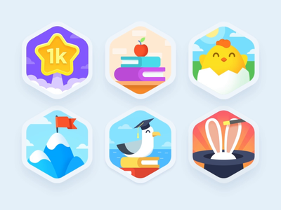 Ahievements animation seagull chicken mountain rabbit star illustration prize color theme level badge achievement design teach study education language app screen