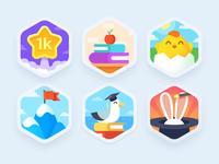 Ahievements animation seagull chicken mountain rabbit star illustration prize color theme level badge achievement design teach study education language app screen