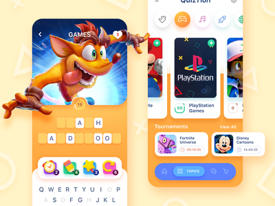 Word Puzzle Game ui playstation application mobile ux icon ios app screen design bandicoot crash wolf puzzle theme crossword word trivia art game