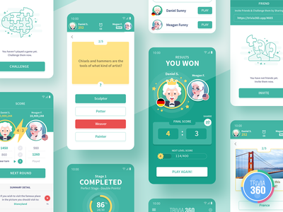 Trivia 360 ui android ux mobile win study icon app score results puzzle screen design education brain trivia question quiz game