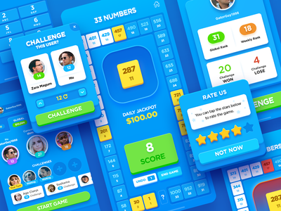 33 Numbers ui iphone ios mobile interface design icon score coin screen win challenge order numbers 33 money app jackpot game