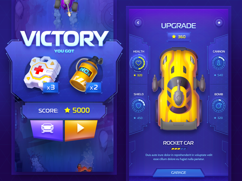 Racing Game app application gui tuning wheel race nitrogen medicine victory win screen art game design interface rocket car racing