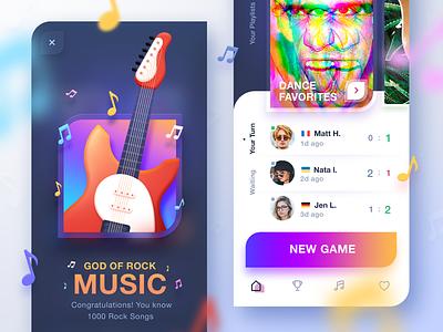 Music Game App icon ux ios music design quiz competition app rock guitar song achievement game art playlist dance challenge achievements skeuomorphism