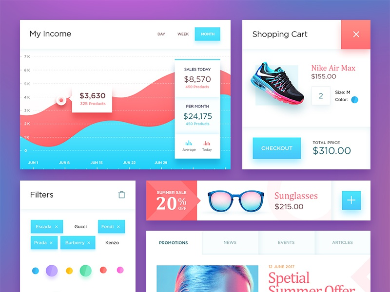 Free PSD: Ecommerce UI Kit red blue fashion filter cart graph shop ecommerce psd kit ui free