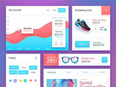 Free PSD: Ecommerce UI Kit red blue fashion filter cart graph shop ecommerce psd kit ui free