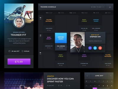 Free PSD: Dark Sports UI