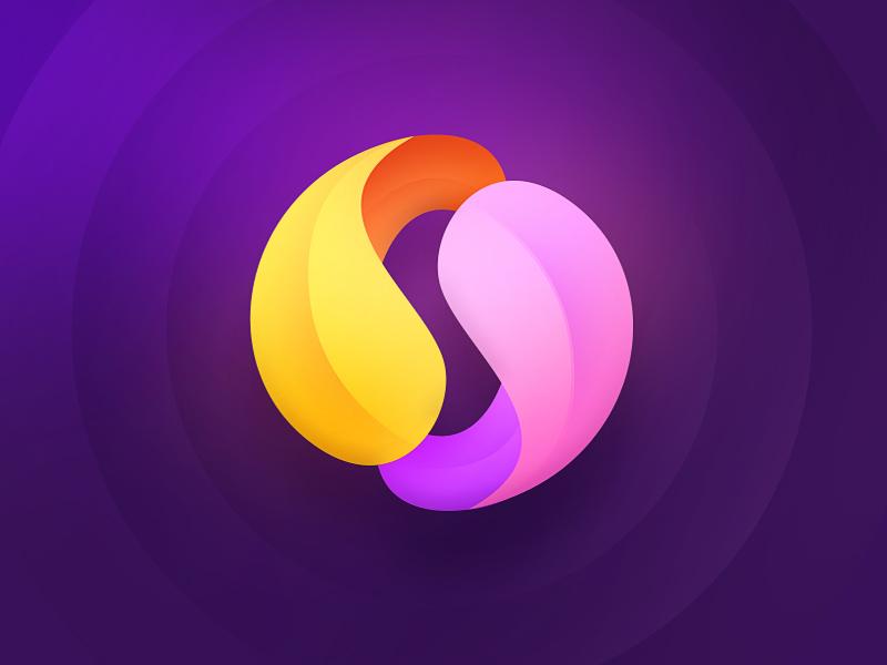 Petals gradient branding colorful purple orange design icon mark logotype logo flower petals