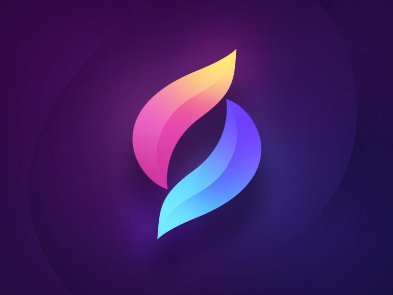 Petals Logo blue purple petals mark logotype logo icon gradient flower design colorful branding